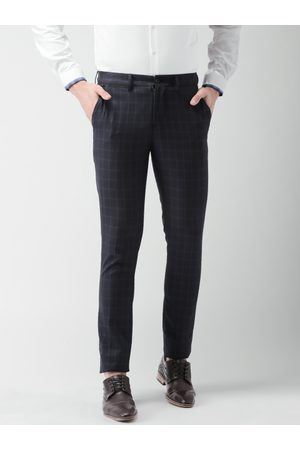 Invictus Men Navy Blue Slim Fit Checked Formal Trousers