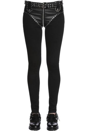 ALYX Slim Studded Faux Leather & Denim Jeans
