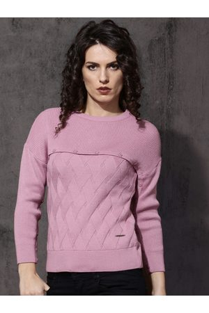 Roadster Women Pink Self Design Pullover