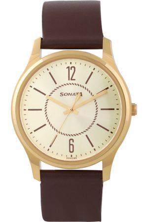 Sonata Essentials Men Gold Analogue watch 77082YL01
