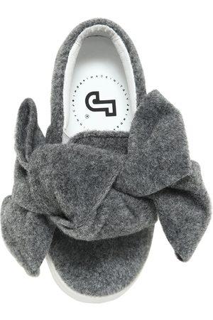 JOSHUA SANDERS Bow Felt & Leather Slip-on Sneakers