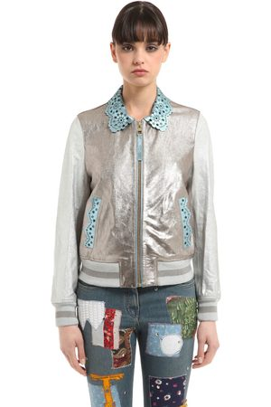 Tommy Hilfiger Laminated Leather Bomber Jacket