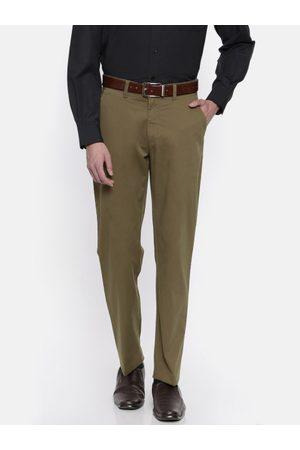 Peter England Men Brown Slim Fit Solid Formal Trousers