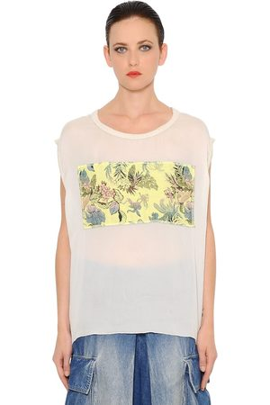 MARNA RO Brocade Embellished Silk Chiffon Top