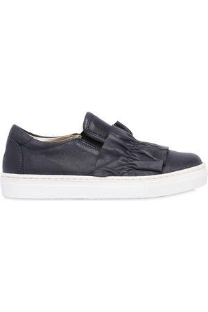 MONNALISA Nappa Leather Slip-on Sneakers