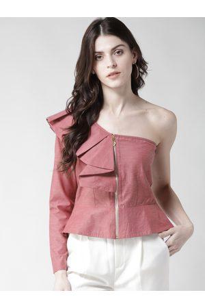 1f226f20b6410 Woowzerz Women Solid One Shoulder Peplum Top
