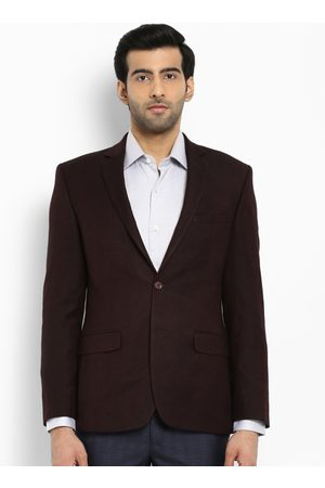 Park Avenue Men Brown Single-Breasted Formal Slim Fit Blazer