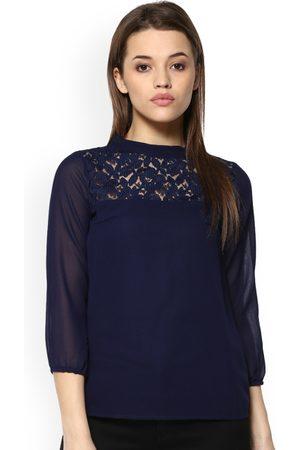 Mayra Women Blue Self Design A-Line Top