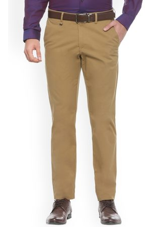Van Heusen Men Khaki Slim Fit Self Design Formal Trousers