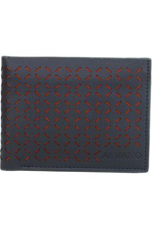 Alvaro Castagnino Men Navy Genuine Leather Laser-Cut Wallet