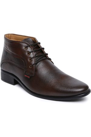 Red Chief Men Brown Leather Derby Shoes