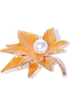 Crunchy Fashion Women Yellow & Off-White Beaded Leaf-Shaped Brooch