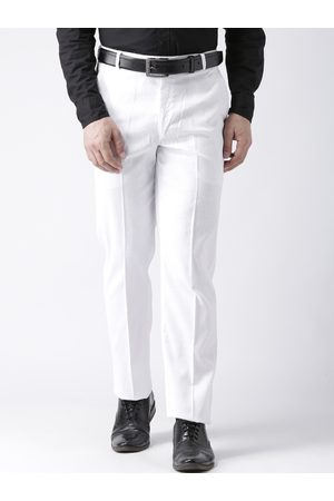 Hangup Men White & White Solid Formal Trousers