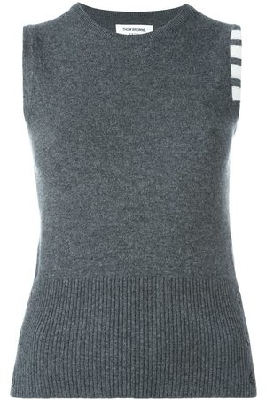 Thom Browne Women Tank Tops - Sleeveless crew neck Shell Top With 4-Bar Stripe In Medium Grey Cashmere