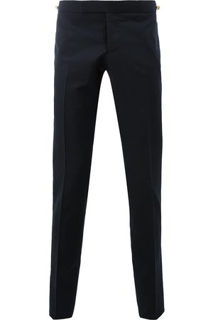 Thom Browne Men Skinny - Low Rise Skinny Trouser With Red, White And Selvedge Back Leg Placement In School Uniform Plain Weave