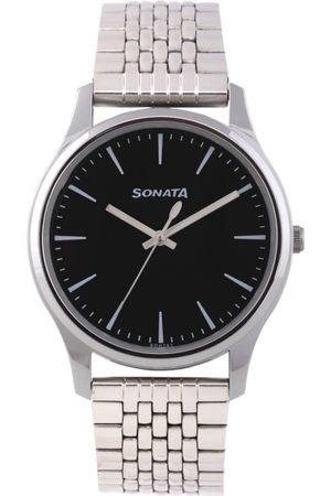 Sonata Essentials Men Black Analogue watch 77082SM01