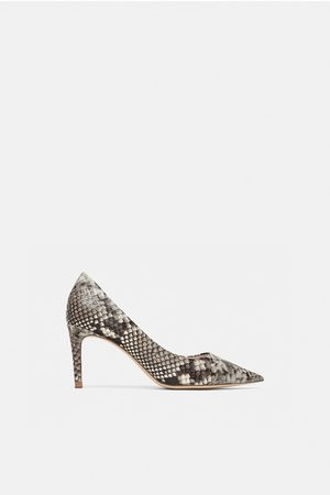 Zara Pumps - SNAKESKIN PRINT LEATHER HIGH-HEEL COURT SHOES