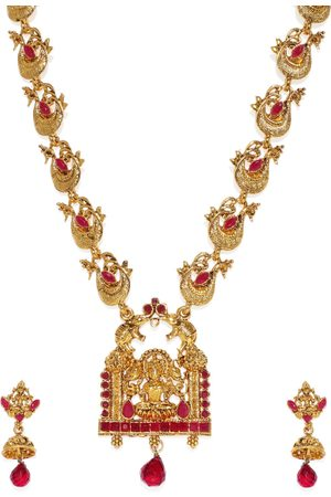 Zaveri Pearls Gold-Toned & Red Sacred Goddess Jewellery Set