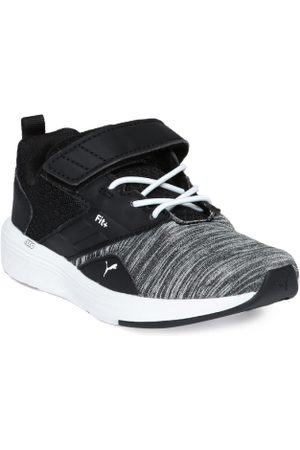 Puma Kids Grey Melange & Black NRGY Comet V PS Sneakers