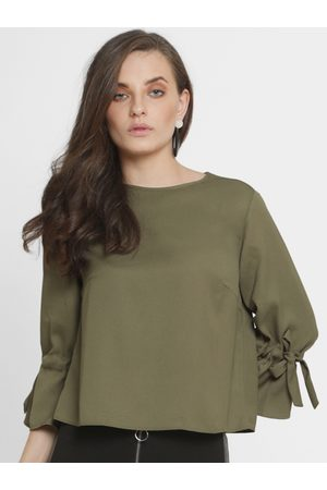 Kazo Women Olive Green Solid Boxy Top