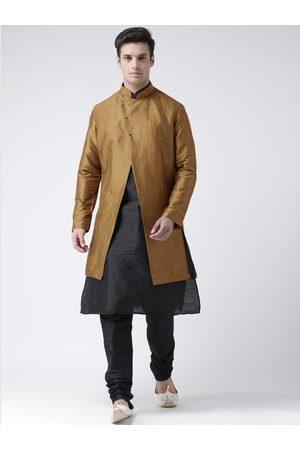 DEYANN Men Mustard-Brown & Black Sherwani Set