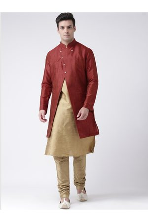 DEYANN Men Maroon & Brown Sherwani Set
