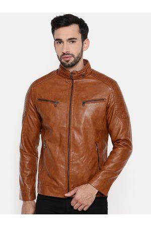 The Indian Garage Co Men Brown Solid Biker Jacket