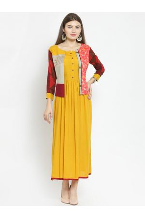 Kvsfab Women Multicoloured Printed A-Line Kurta