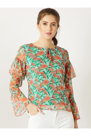 Miss Chase Women Green Printed Top