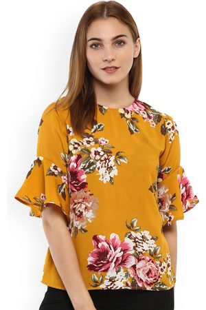 Mayra Women Yellow Printed A-Line Top