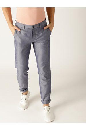 Benetton Men Purple Slim Fit Solid Regular Trousers