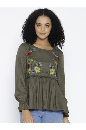 Lee Cooper Women Olive Green Embroidered A-Line Top