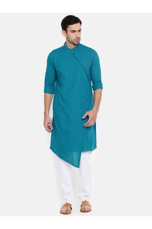 The Indian Garage Co Men Teal Blue Solid Straight Kurta