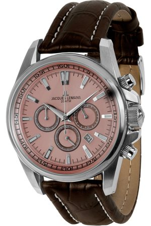 Jacques Lemans Men Pink Leather Analogue Watch 1-1117RN