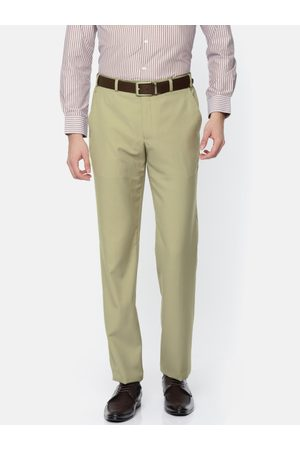 Park Avenue Men Beige Super Slim Fit Solid Formal Trousers