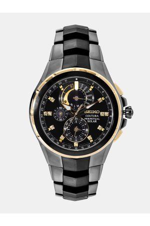 Seiko Coutura Men Black Perpetual Solar Chronograph Watch