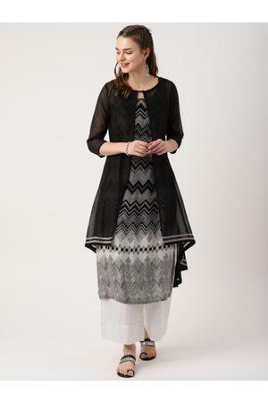 IMARA Women Black & Grey Printed A-Line Layered Kurta