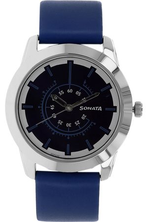 Sonata Men Silver-Toned & Navy Blue Analogue Watch