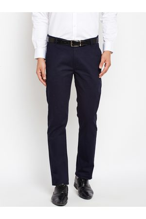 HANCOCK Men Slim Fit Solid Formal Trousers