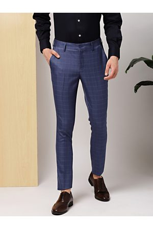 Invictus Men Formal Trousers - Men & Olive Green Slim Fit Checked Formal Trousers