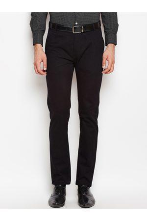 HANCOCK Men Black Slim Fit Solid Regular Trousers