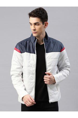 HRX Men White & Navy Blue Colourblocked Padded Jacket