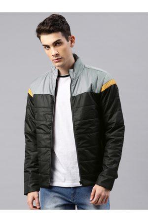 HRX Men Black & Grey Colourblocked Padded Jacket