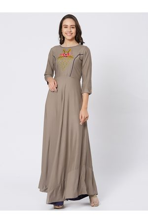 Kvsfab Women Taupe Embroidered A-Line Kurta