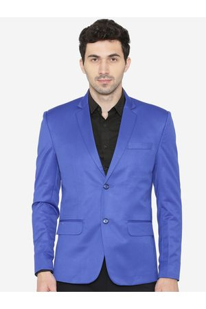 Wintage Men Blue Solid Tailored Fit Single-Breasted Formal Blazer