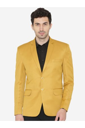 Wintage Men Yellow Solid Tailored Fit Single-Breasted Formal Blazer