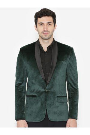 Wintage Men Green Solid Single-Breasted Velvet Blazer