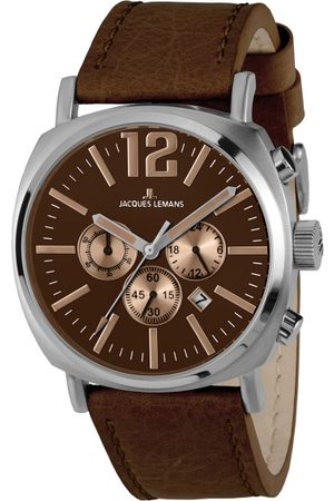 Jacques Lemans Men Maroon Leather Analogue Watch 1-1645G