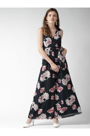 Quiero Women Navy Blue & Pink Floral Printed Flared Jumpsuit