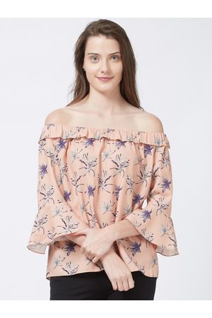 109F Women Peach-Coloured Printed Bardot Top